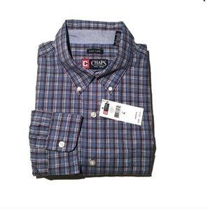 NWT Chaps Long Sleeve Blue Button Down Shirt